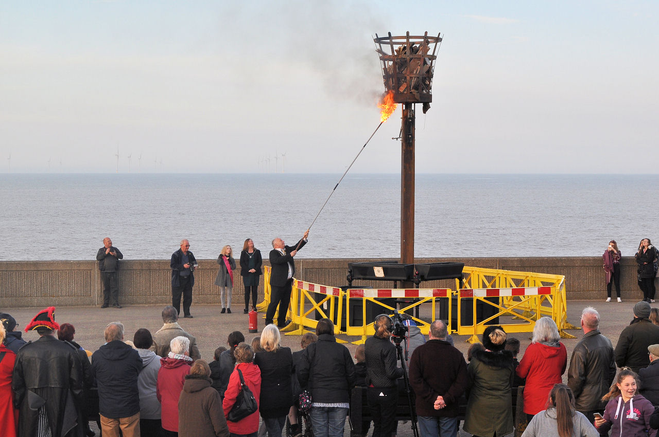 Mayor Patric Spicer lights the beacon for the Queens 90th birthday 21st April 2016