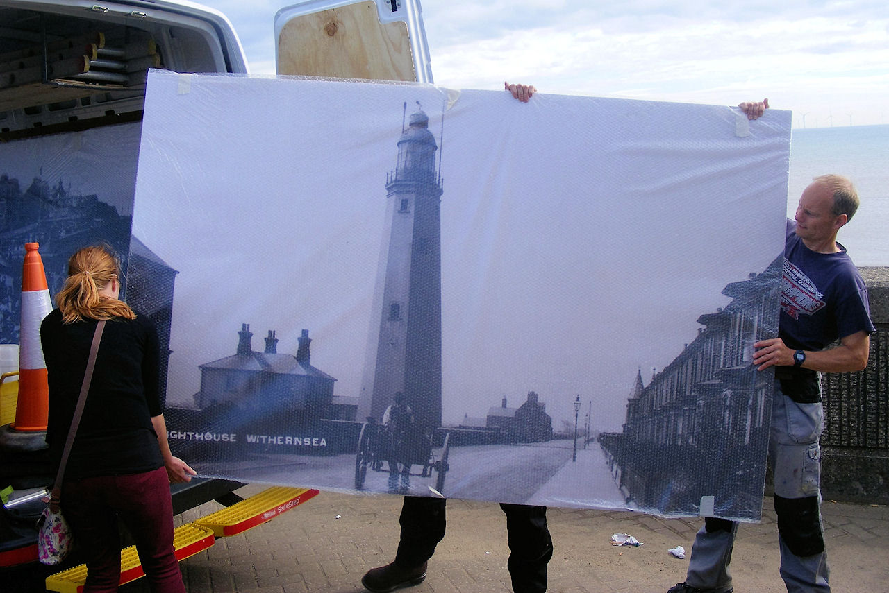 Picture boards being put up in Withernsea