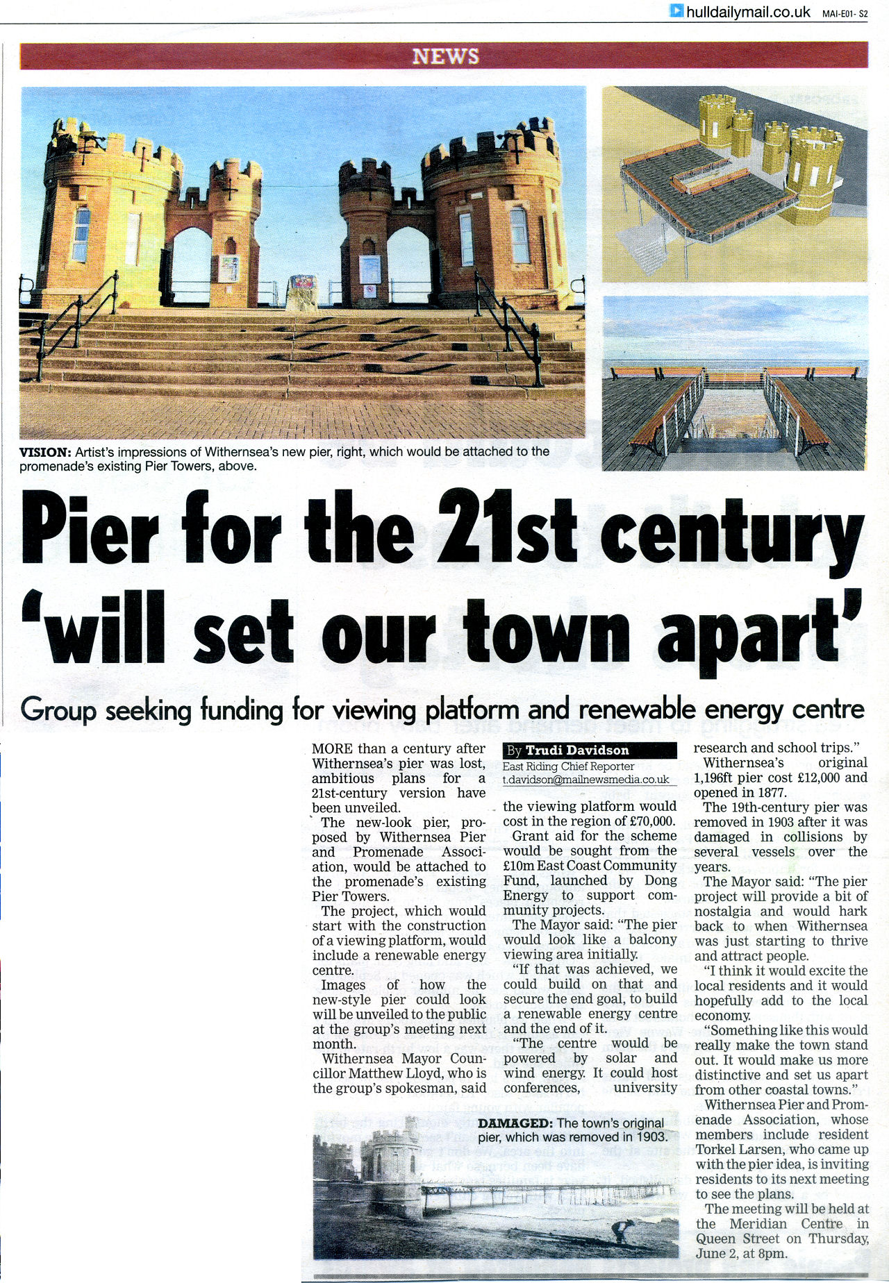 Withernsea Pier Press Coverage Hull Daily Mail 13th May 2016