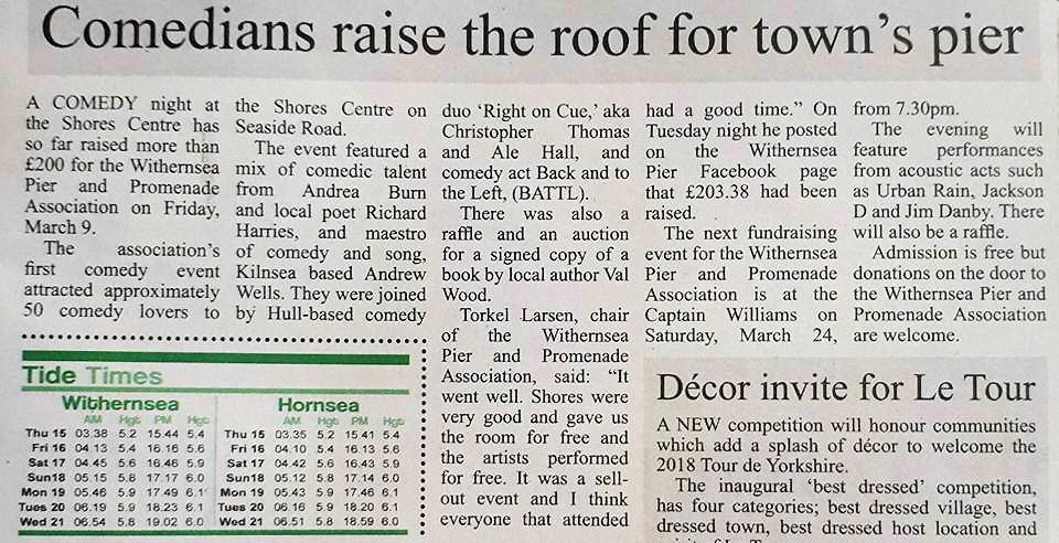 Holderness Gazette Press coverage Comedy Evening