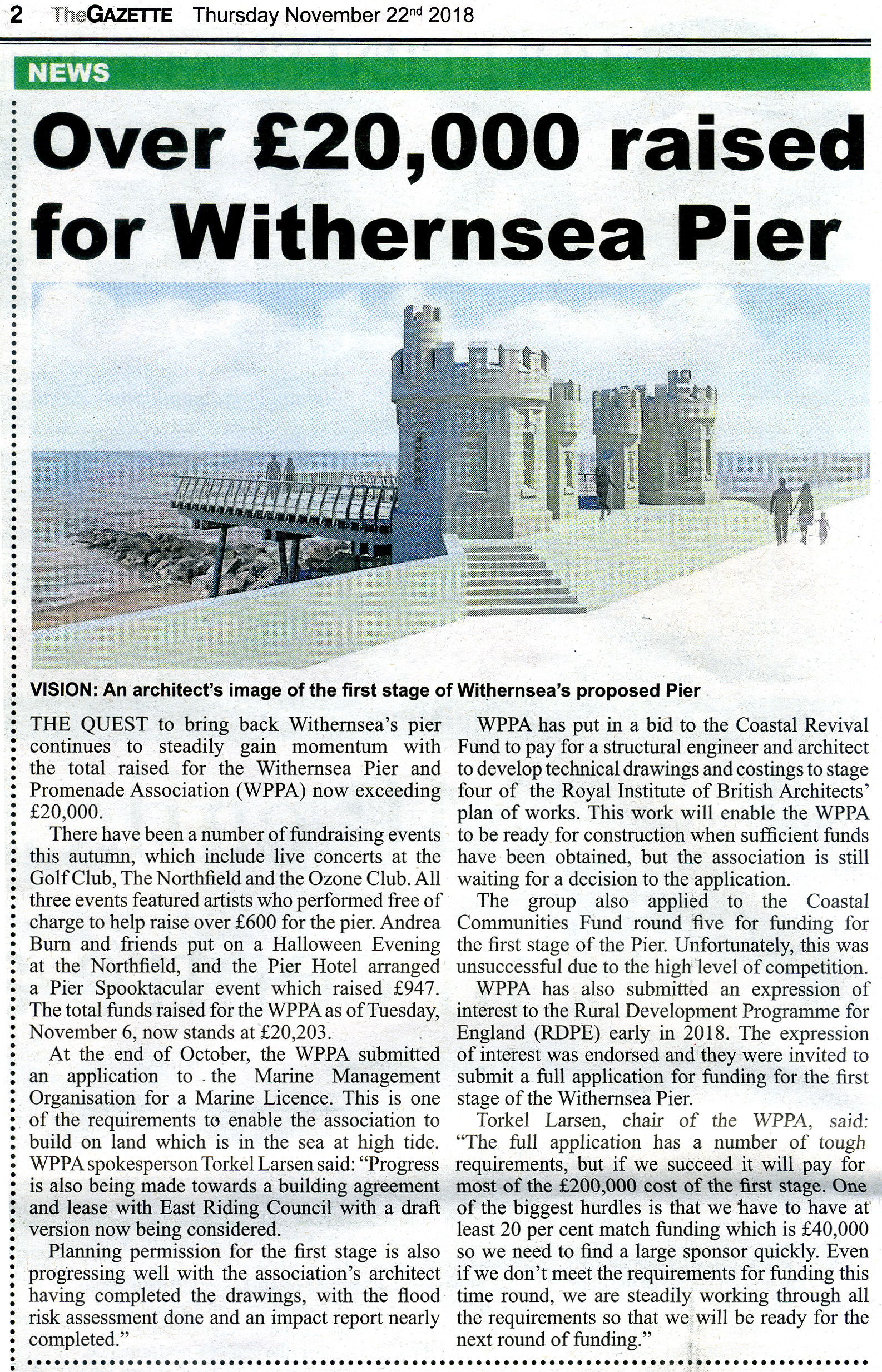 Withernsea Pier Article in Gazette