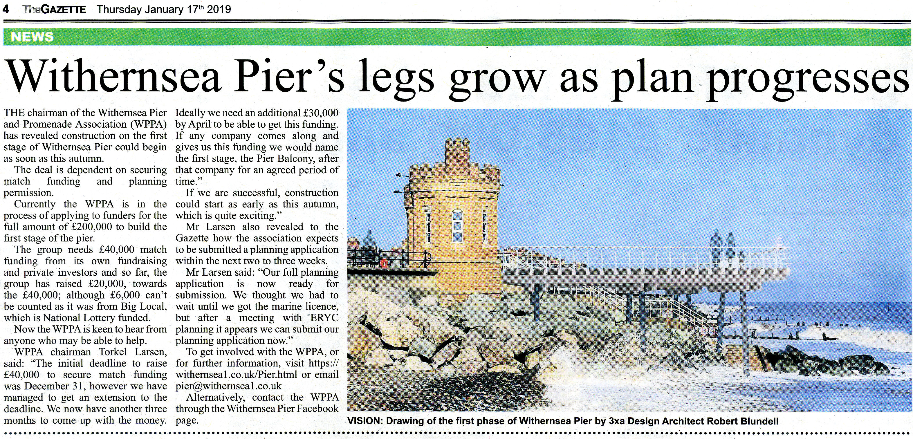 Withernsea Pier Newspaper Article in the Holderness Gazette January 2019