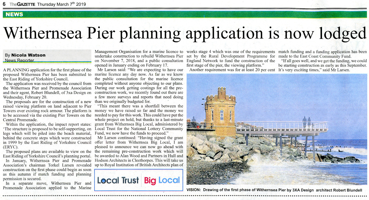 Withernsea Pier in Holderness Gazette 7th March 2019