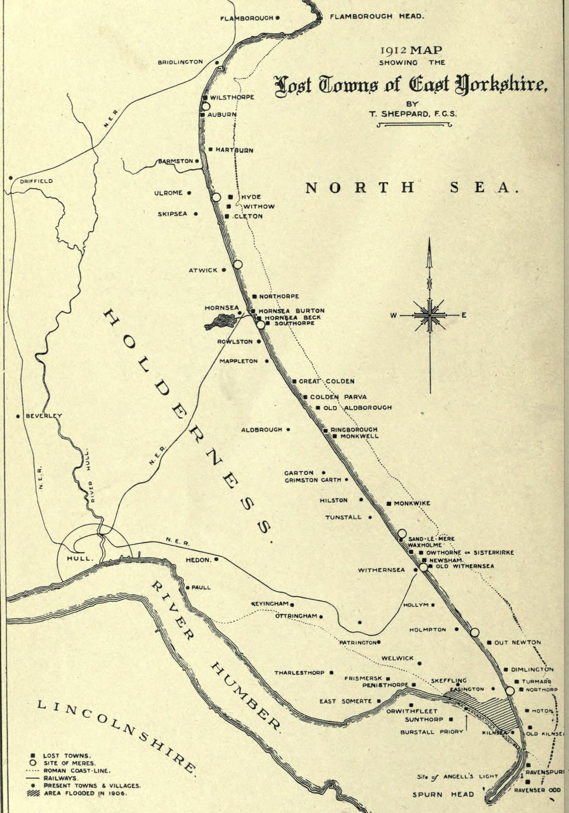 Map from 1912 showing the lost towns of East Yorkshire and where the ...