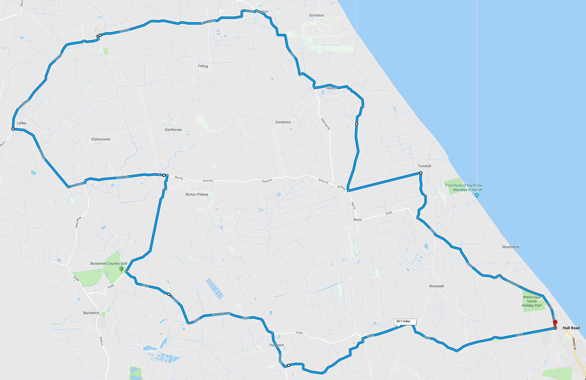 Withernsea to Lelley cycle route