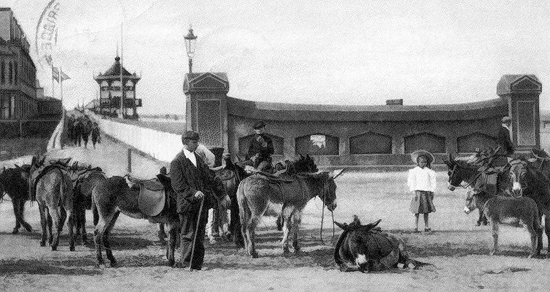 Postcard of Withernsea donkey rides